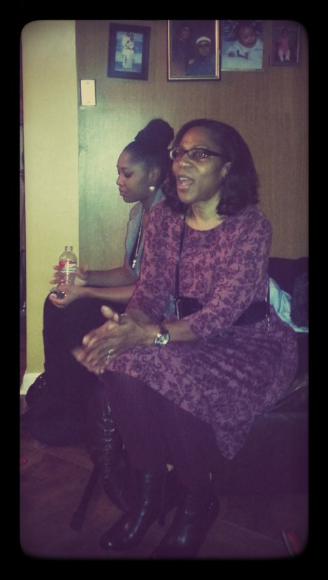 My aunt participating in the intense debate over I-phone vs Galaxy. My sister tuning her out, lol.