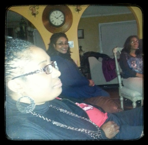 My cousin looking a little pale, lol along with my sister and aunt in the background