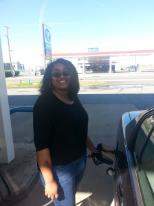 My sister Carolyn gassing up the ride