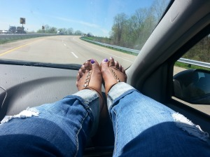 Chilling on the passenger side of my best friend's ride, lol